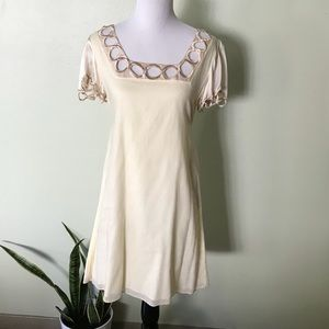 Dresses & Skirts - Cream Dress w/ Satin & Embroidered Sleeves